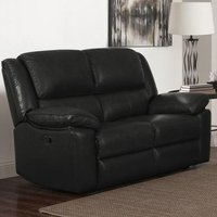 Product photograph showing Toledo Leather And Pvc Recliner 2 Seater Sofa In Black