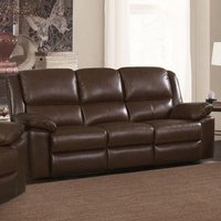Product photograph showing Toledo Leather And Pvc Recliner 3 Seater Sofa In Brown