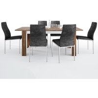 Product photograph showing Toltec Wooden Extending Dining Table With 4 Mexa Black Chairs