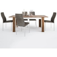 Product photograph showing Toltec Wooden Extending Dining Table With 4 Mexa Brown Chairs