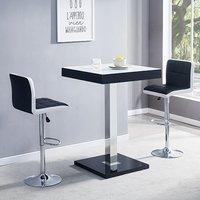 Topaz Black White Glass Bar Table With 2 Copez Black White Stool