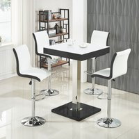 61054b7909f Product photograph showing Topaz White Glass Top Bar Table In Black Gloss  And 4 Ritz Stools