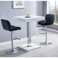 Product photograph showing Topaz White Gloss Bar Table With 2 Candid Black Bar Stools