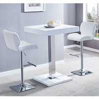 Product photograph showing Topaz White Gloss Bar Table With 2 Candid White Bar Stools