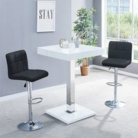 Product photograph showing Topaz Glass Bar Table In White Gloss With 2 Coco Black Stools