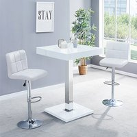 Product photograph showing Topaz Glass Bar Table In White Gloss With 2 Coco White Stools