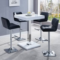 Product photograph showing Topaz White Gloss Bar Table With 4 Candid Black Bar Stools