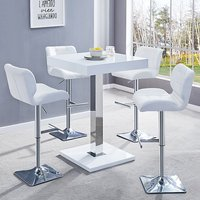 Product photograph showing Topaz White Gloss Bar Table With 4 Candid White Bar Stools