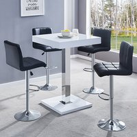 Product photograph showing Topaz White Gloss Bar Table With 4 Coco Black Bar Stools