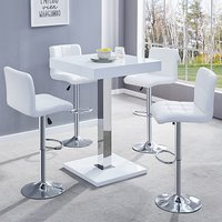 Product photograph showing Topaz White Gloss Bar Table With 4 Coco White Bar Stools