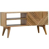 Product photograph showing Tophi Wooden Line Carving Tv Stand In Oak Ish
