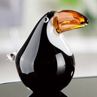 Product photograph showing Toucan Glass Bird Design Sculpture In Black