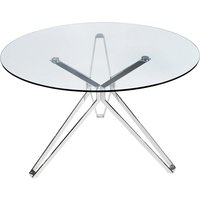 Product photograph showing Toulouse Round Clear Glass Dining Table With Silver Star Legs