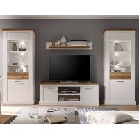 Product photograph showing Tramp Led Living Room Furniture Set In White Pine Satin Walnut