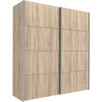 Trek Wooden Sliding Doors Wardrobe In Oak With 2 Shelves