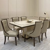Product photograph showing Trento High Gloss Marble Dining Table In Beige And 8 Chairs