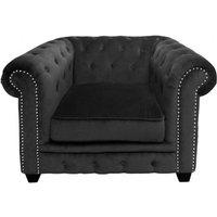 Product photograph showing Trento Velvet Armchair In Black