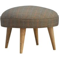 Product photograph showing Trenton Fabric Nordic Style Footstool In Multi Tweed