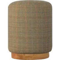 Product photograph showing Trenton Fabric Round Footstool In Multi Tweed With Oak Base
