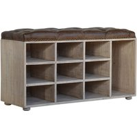 Trenton Shoe Storage Bench In Brown And Acid Wash With 9 Slot
