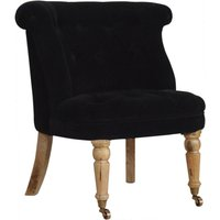 Product photograph showing Trenton Velvet Upholstered Accent Chair In Black