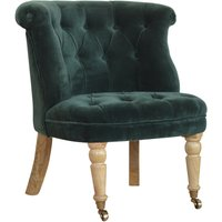 Product photograph showing Trenton Velvet Upholstered Accent Chair In Emerald Green