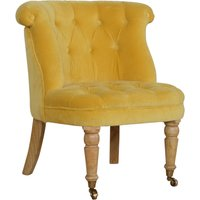 Product photograph showing Trenton Velvet Upholstered Accent Chair In Mustard