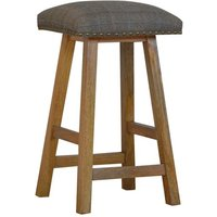 Product photograph showing Trenton Wooden Bar Stool In Oak Ish With Multi Tweed Fabric Seat