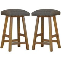 Product photograph showing Trenton Wooden Bar Stool In Oak Ish With Tweed Fabric Seat In Pair