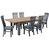 Trevino Extending Dining Table In Blue And Oak With 6 Chairs
