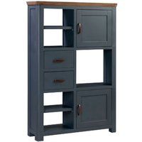 Product photograph showing Trevino Large Wooden Display Cabinet In Midnight Blue And Oak