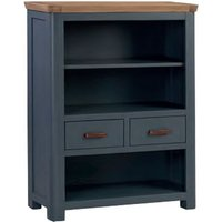 Product photograph showing Trevino Low Wooden Bookcase In Midnight Blue And Oak