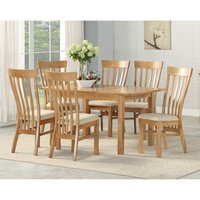 Trevino Oak Extending Dining Set With 4 Dining Chairs