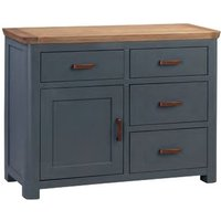 Product photograph showing Trevino Small Wooden Sideboard In Midnight Blue And Oak