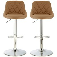 Product photograph showing Trezzo Modern Bar Stool In Taupe Faux Leather In A Pair
