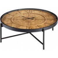 Product photograph showing Trigona Glass Round Clock Coffee Table With Black Metal Legs