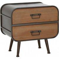 Trigona Wooden 2 Drawers Bedside Cabinet With Black Frame