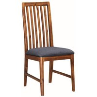 Product photograph showing Trimble Dining Chair In Rich Acacia With Grey Fabric Seat