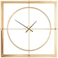 Product photograph showing Trioga Square Metal Skeletal Frame Wall Clock In Gold