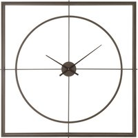 Product photograph showing Trioga Square Metal Skeletal Frame Wall Clock In Rustic Copper