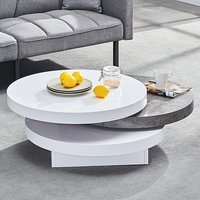 Product photograph showing Triplo Rotating Coffee Table In White Gloss Concrete Effect