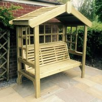 Product photograph showing Tromin Wooden Cottage 3 Seater Arbour