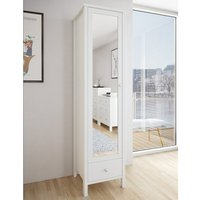 Product photograph showing Tromso Mirrored Wardrobe In Off White With 1 Door And 1 Drawer