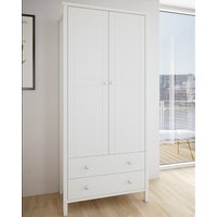 Product photograph showing Tromso Wooden Wardrobe In Off White With 2 Doors And 2 Drawers