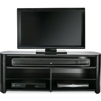 Product photograph showing Trosper Wooden Tv Stand In Black Oak With Sound Bar Shelf