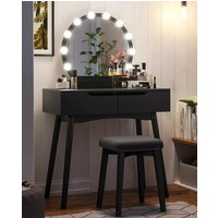 Troutdale Wooden Dressing Table Set With Mirror In Black