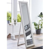 Product photograph showing Truckee Floor Standing Cheval Mirror In White High Gloss Frame