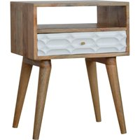 Product photograph showing Tufa Wooden Capsule Carved Bedside Cabinet In Oak White 1 Drawer