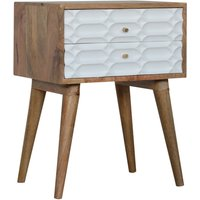 Product photograph showing Tufa Wooden Capsule Carved Bedside Cabinet In Oak White 2 Drawer