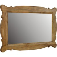 Product photograph showing Tufa Hand Carved Wall Bedroom Mirror In Oak Ish Oblong Frame